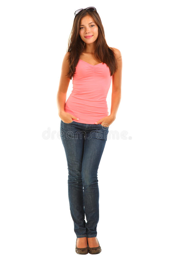 Full length beautiful young woman on white stock photo