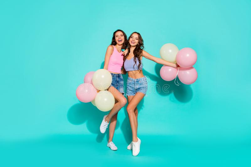 Full length body size photo beautiful amazing two she her ladies colored balloons hands arms festive gorgeous hips stock image