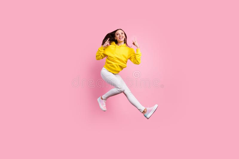 Full length body size photo of beautiful attractive cute charming nice sweet pretty girlfriend with footwear horning her. Full length body size photo of royalty free stock photography