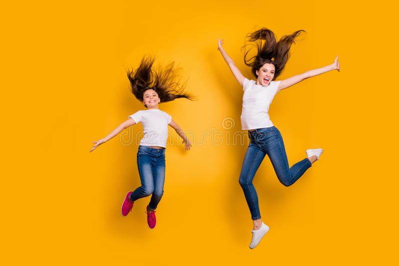 Full length body size photo beautiful her she diversity different age lady weekend mood spend free time together jump stock images