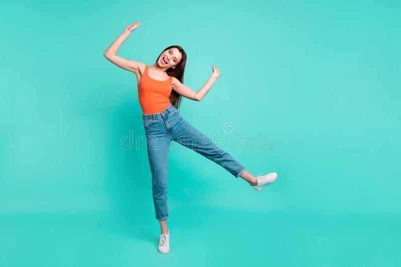 Full length body size photo beautiful her she lady easy-going person weekend vacation mood freedom active energy wear royalty free stock photos