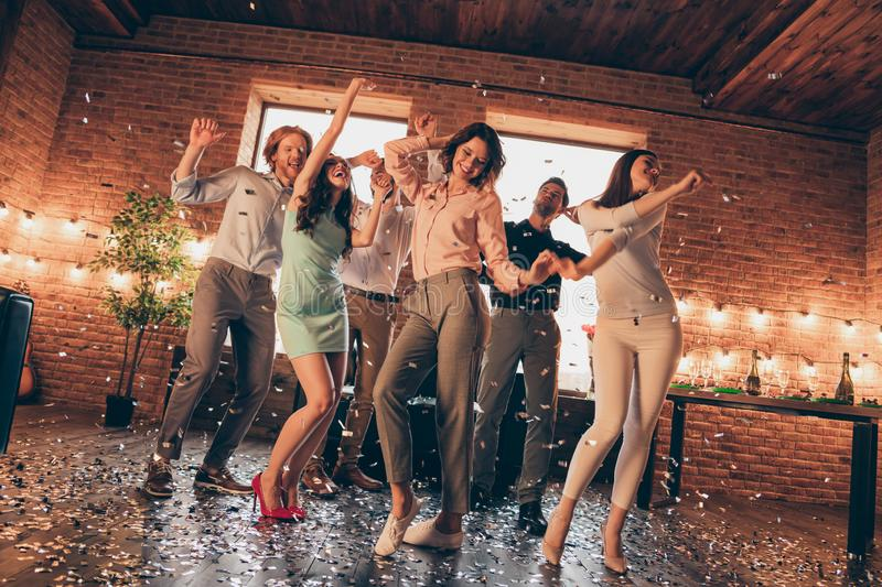 Full length body size photo best friends hang out dance great time drunk sing singer favorite songs energetic she her. Ladies he him his guys wear dress shirts royalty free stock photography