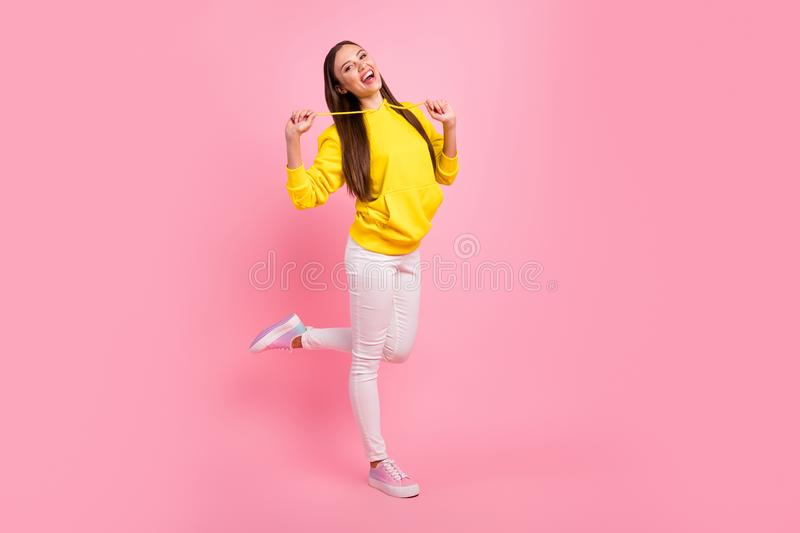 Full length body size photo of charming cute beautiful attractive nice pretty girlfriend wearing yellow sweater while. Full length body size photo of charming stock photography