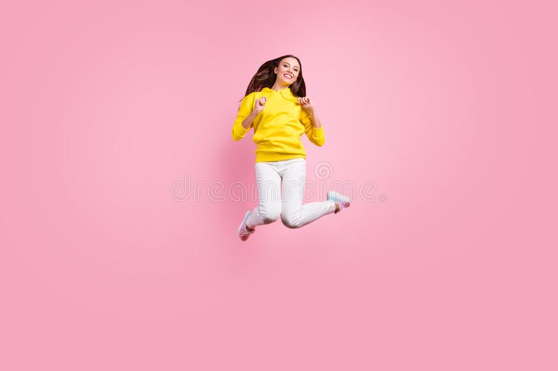 Full length body size photo of charming cute nice attractive beautiful fascinating girlfriend jumping up to air wearing. Full length body size photo of charming stock photography