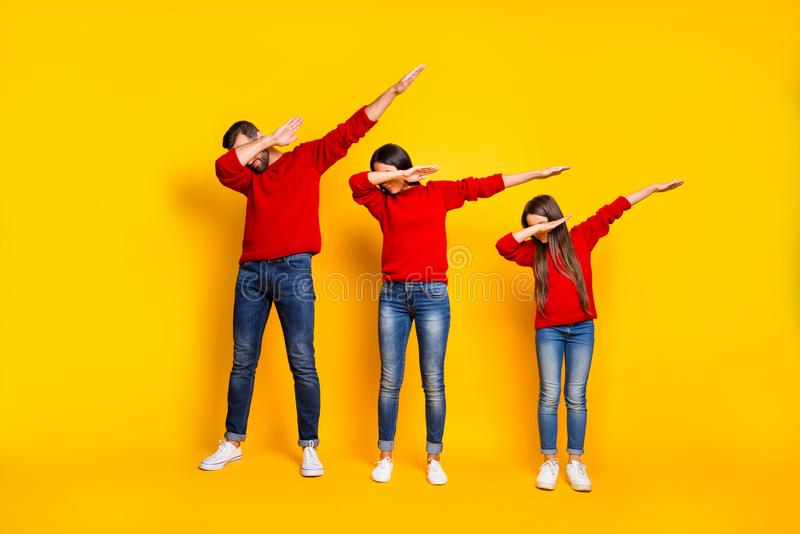 Full length body size photo of dabbers family chilling out going step by step with fashion and trends wearing jeans stock photo