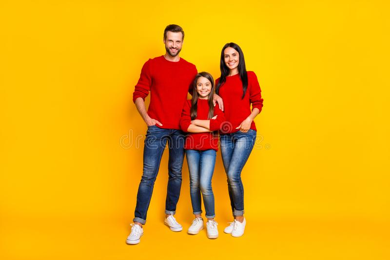 Full length body size photo of family standing confident with daughter arms crossed parents hands in pockets of jeans royalty free stock images