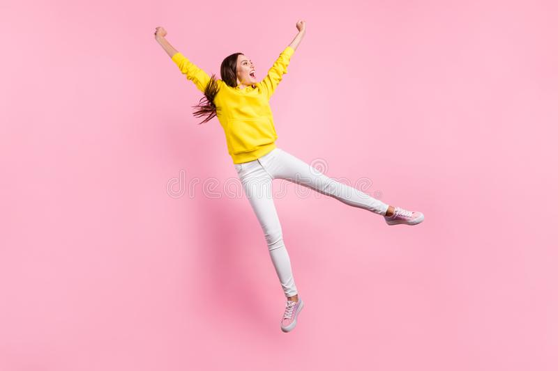 Full length body size photo of nice cute charming beautiful attractive rejoicing girlfriend flying away from here. Full length body size photo of nice cute royalty free stock photography