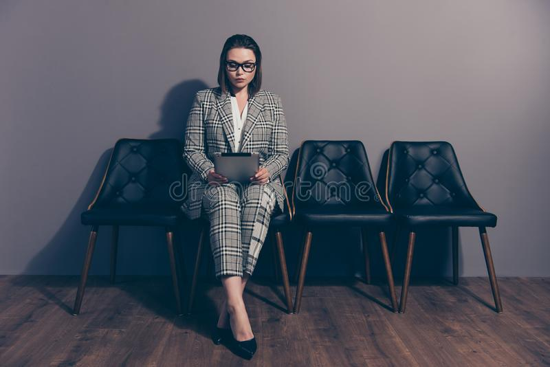 Full length body size photo portrait of serious confident concentrated focused thoughtful she her lady preparing for royalty free stock photo