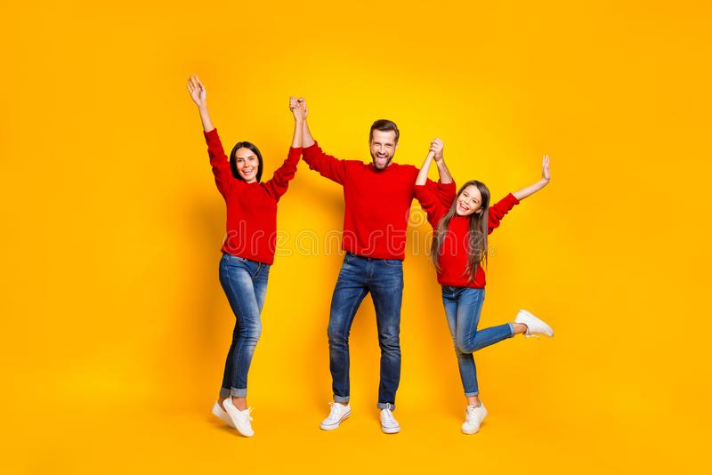 Full length body size photo of rejoicing screaming cheerful positive friendly family loving each other with emotional royalty free stock image