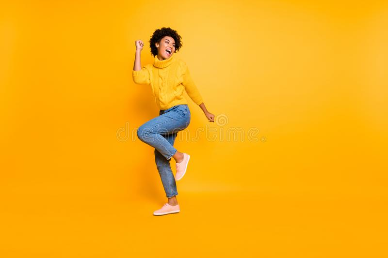 Full length body size view of her she nice attractive cheerful cheery content successful wavy-haired girl having fun. Full length body size view of her she nice royalty free stock photo
