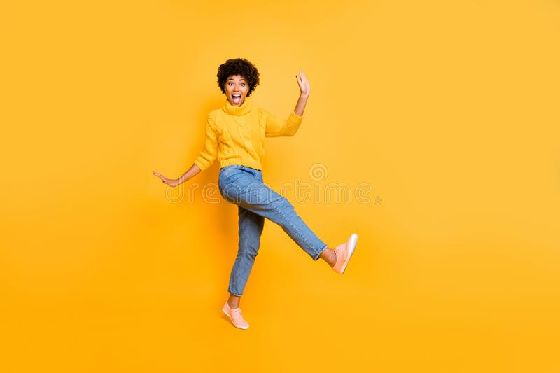 Full length body size view of her she nice attractive cheerful cheery playful comic wavy-haired girl having fun free. Full length body size view of her she nice royalty free stock photos