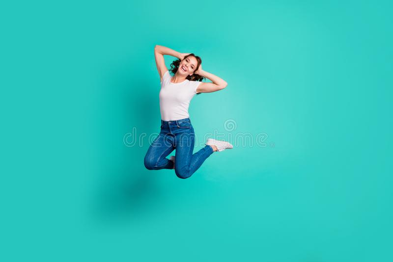 Full length body size view of her she nice-looking attractive lovely careless cheerful cheery wavy-haired lady having royalty free stock photo