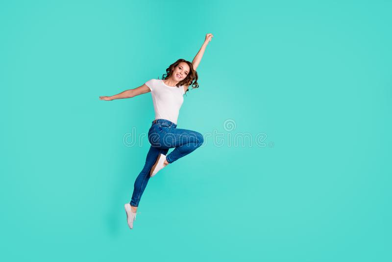 Full length body size view of her she nice-looking attractive lovely cheerful slim fit thin slender wavy-haired lady stock photo