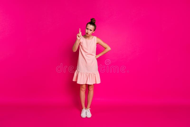 Full length body size view of her she nice-looking charming attractive glamorous sad slim fit thin girl claims blame. Full length body size view of her she nice royalty free stock image