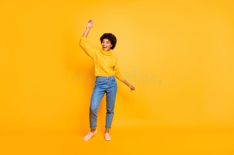 Full length body size view of nice attractive charming cheerful cheery wavy-haired girl having fun dancing party chill. Full length body size view of nice royalty free stock photo