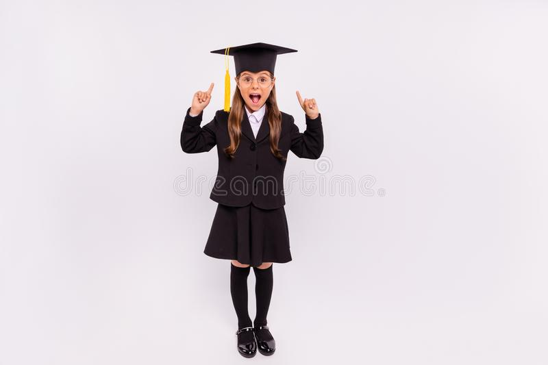 Full length body size view of nice attractive intelligent cheerful excited ecstatic glad pre-teen girl scientist stock photography