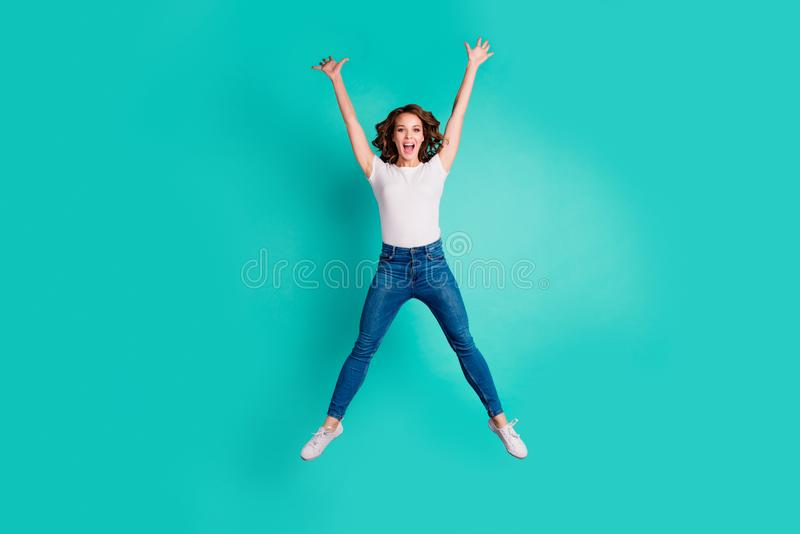 Full length body size view of nice-looking attractive lovely cheerful cheery carefree slim fit thin slender wavy-haired royalty free stock image