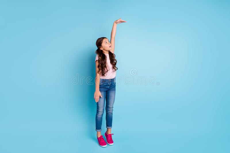 Full length body size view photo of astonished kid impressed raise arm measurement unbelievable unexpected news open stock photo