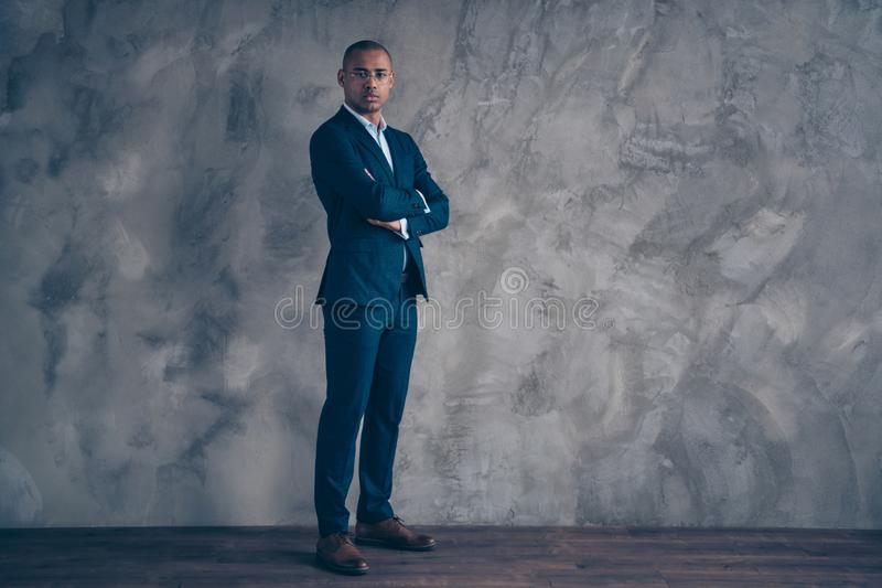 Full length body size view photo attractive classy entrepreneur chairman short hair bald focused concentrated solve. Decide true boss expert ceo specialist royalty free stock photography