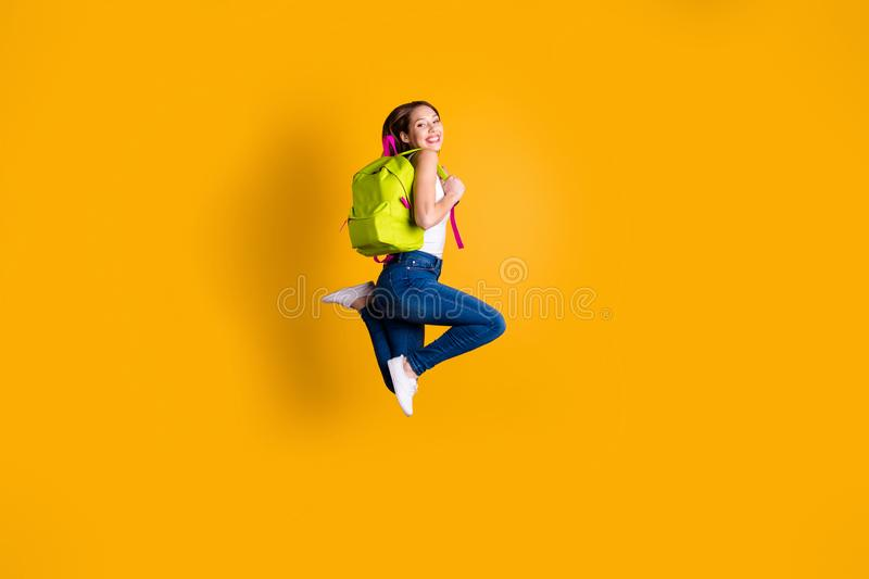 Full length body size view photo of charming lady feel energy rejoice she her have lesson school dressed white singlet royalty free stock photo