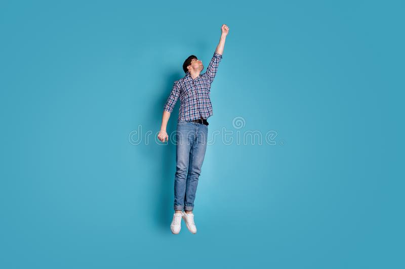 Full length body size view photo gorgeous classy energy guy millennial try catch take concentrated parasol stylish. Full length body size view photo gorgeous stock images