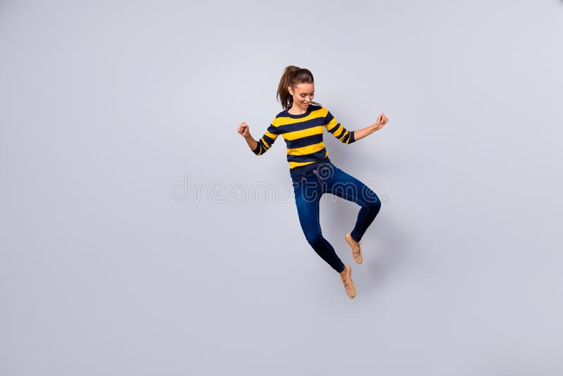Full length body size view portrait of her she nice-looking lovable feminine charming lovely attractive cheerful cheery royalty free stock image