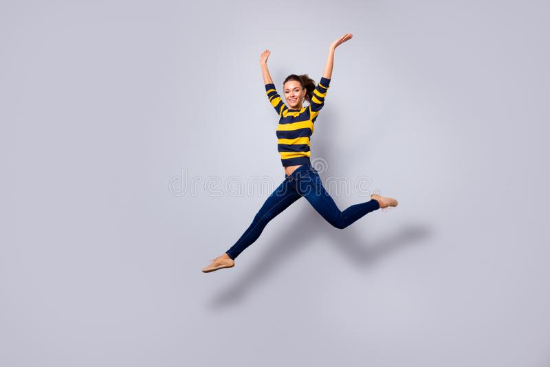 Full length body size view portrait of her she nice-looking sweet charming lovely attractive cheerful cheery glad stock photography