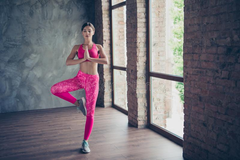 Full length body size view portrait of nice slender beautiful attractive graceful thin concentrated focused lady doing. Work-out class in modern loft industrial royalty free stock image