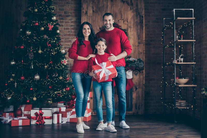 Full length body size view of three nice attractive lovely careful cheerful cheery family mom dad holding in hands. Purchase celebrating, newyear in decorated stock images