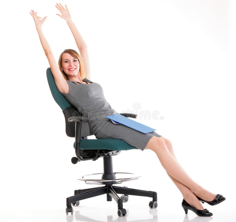 Full Length Business Woman Sitting On Chair Royalty Free Stock Images