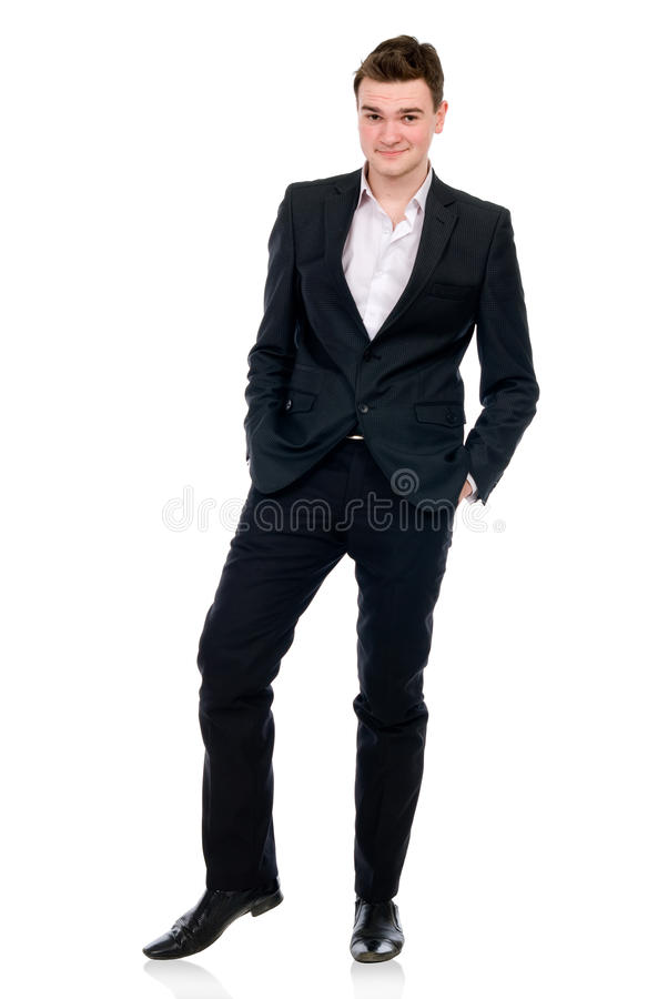 Full length of a cheerful business man standing stock photos