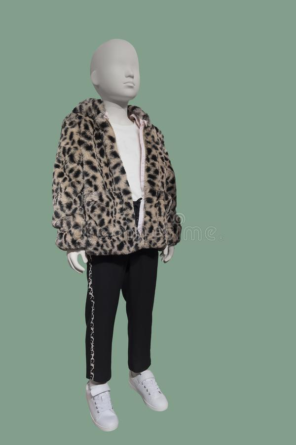 Full-length child mannequin. Dressed in faux leopard-fur short jacket, isolated on green background. No brand names or copyright objects stock photography