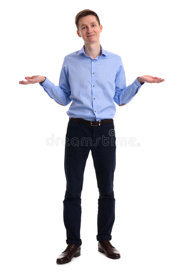 Full length of a confused young man royalty free stock photo