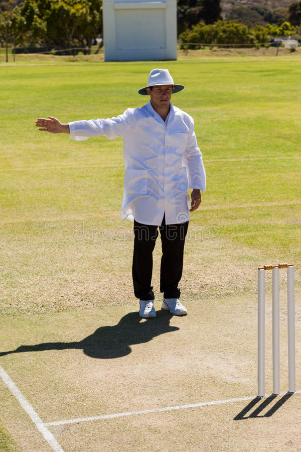 Full length of cricket umpire signalling no ball during match royalty free stock image
