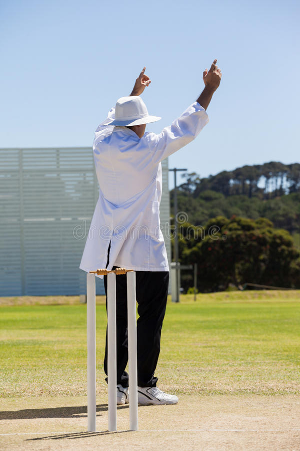 Full length of cricket umpire signalling six runs during match royalty free stock photos