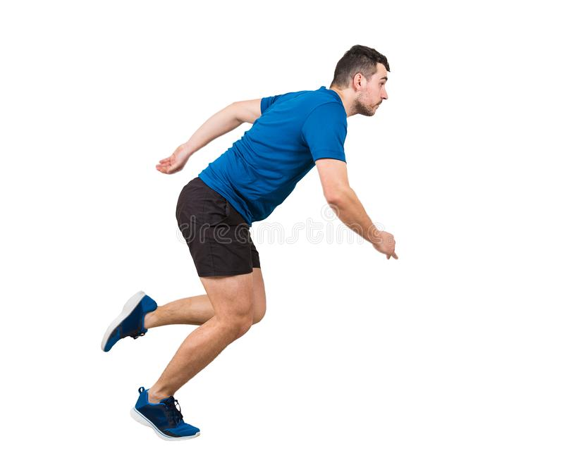 Full length of determined caucasian man athlete fast speed running isolated over white background. Young guy runner wearing black. Side view full length of royalty free stock photography