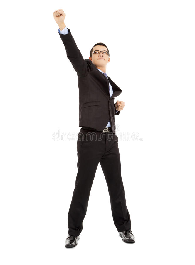 Full length of energy businessman pose as superman royalty free stock images