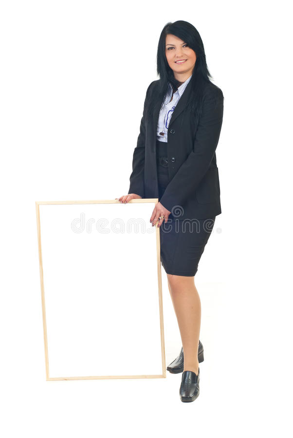 Full length of executive woman with placard royalty free stock photos