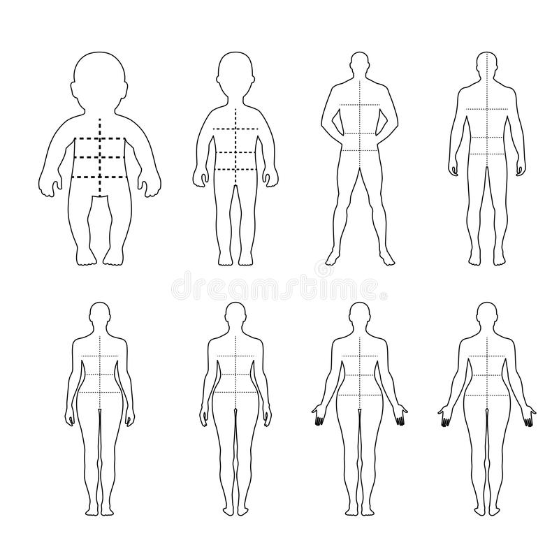 Full length front, back human outlined silhouette set vector illustration