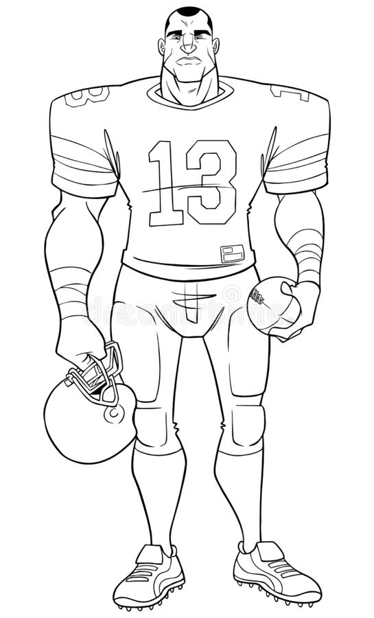 American Football Player Line Art. Full length front view of a determined and competitive American football player standing ready for the game against white vector illustration