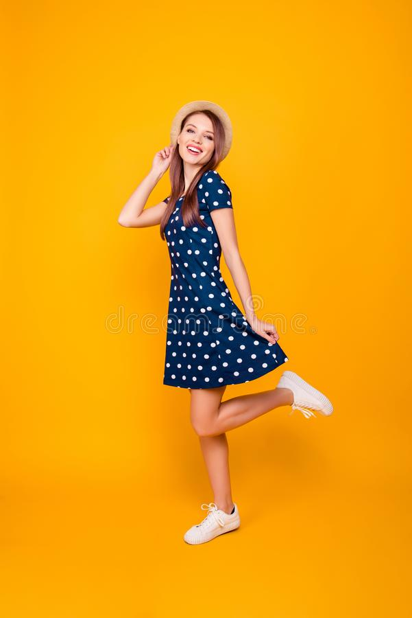Full-length, fullbody portrait of nice, cheerful, positive, cute royalty free stock photo