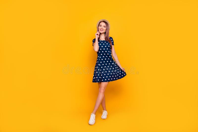 Full-length, fullbody portrait of nice, cheerful, positive, cute stock photography