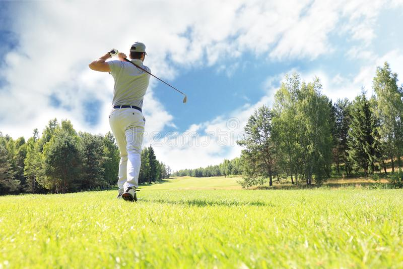 Full length of golf player playing golf on sunny day. Professional male golfer taking shot on golf course.  stock images