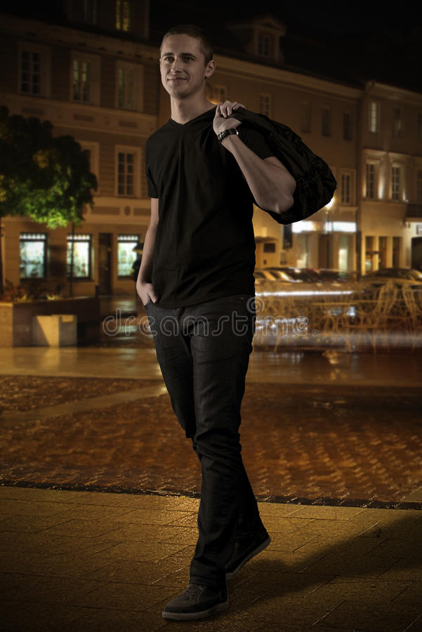 Download Man In Black On The Street At Night Stock Image - Image: 29938563