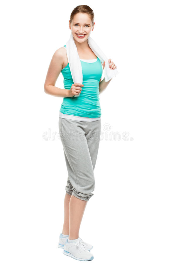 Full length happy young athlete woman isolate don white background. Full length happy young athlete woman smiling royalty free stock photography