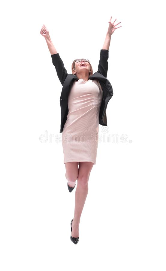 Full length . happy young business woman looking up royalty free stock photography
