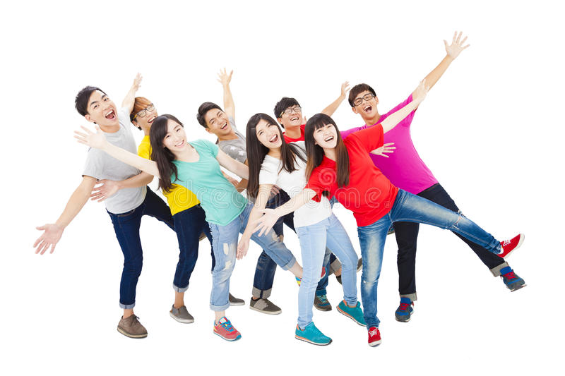 Full length of happy young student group stock photo