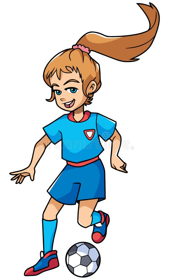 Football Playing Girl vector illustration