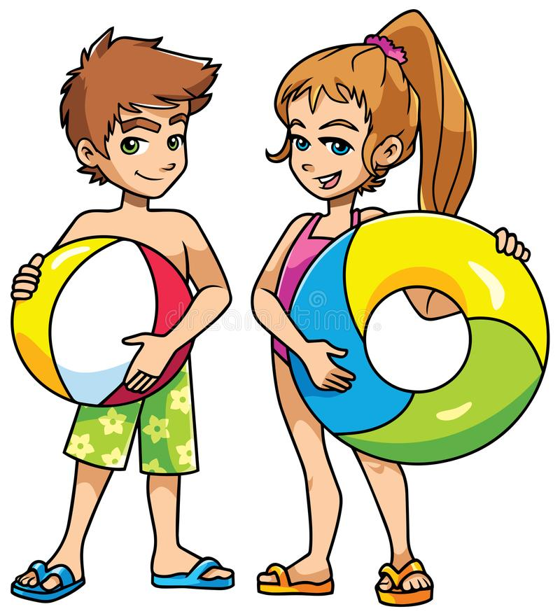 Beach Kids with Accessories stock illustration