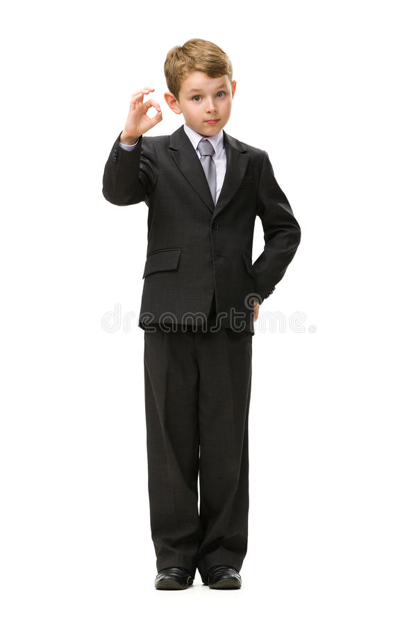 Download Full Length Of Little Businessman Okay Gesturing Stock Image - Image of career, male: 34419857